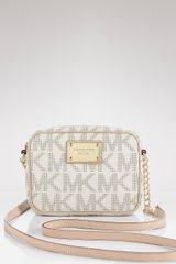 Michael Kors Jet Set Logo Crossbody Bag  in White (vanilla) - Lyst