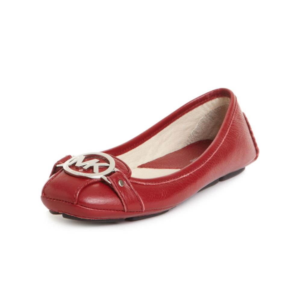 Ecco Shoes Womens Red Leather Flats
