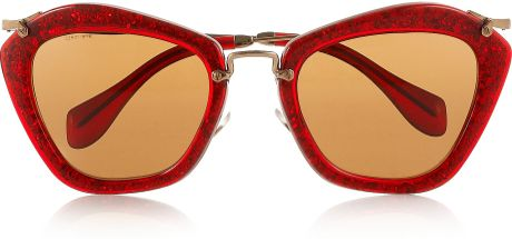 Miu Miu Cat Eyeframe Glitter Acetate and Metal Sunglasses in Red - Lyst