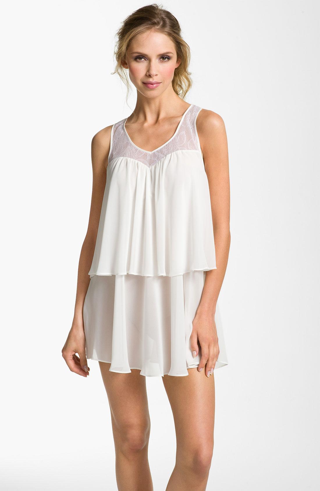 oscar de la renta lovely layers chemise in white pearl lyst