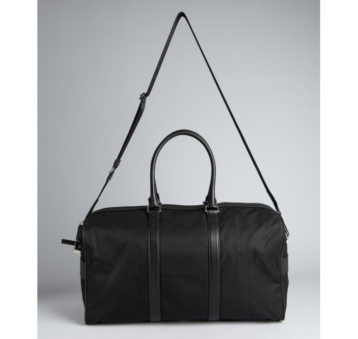 Prada Black Nylon Gabardine Convertible Travel Bag in Black for ... - prada trolley black
