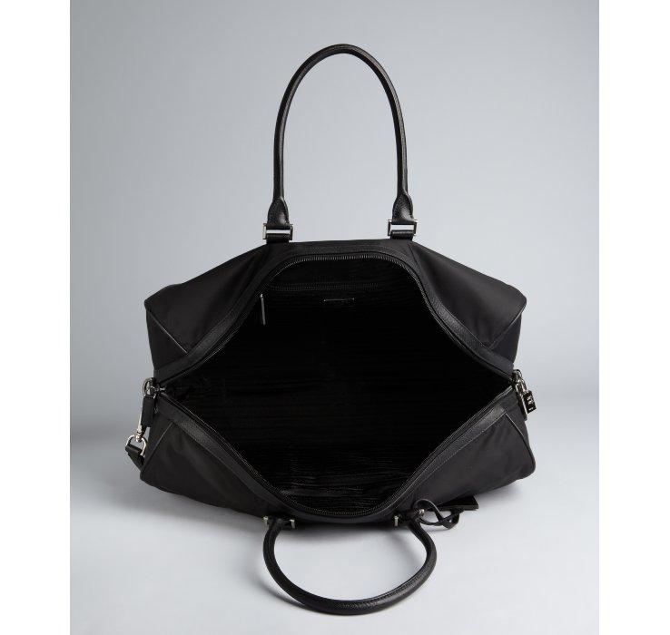 Prada Black Nylon Gabardine Convertible Travel Bag in Black for ...