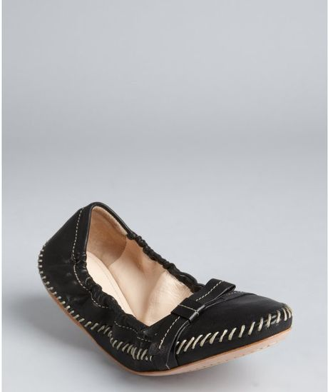 Prada Prada Sport Black Leather Bow Accent Ballet Flats in Black - Lyst