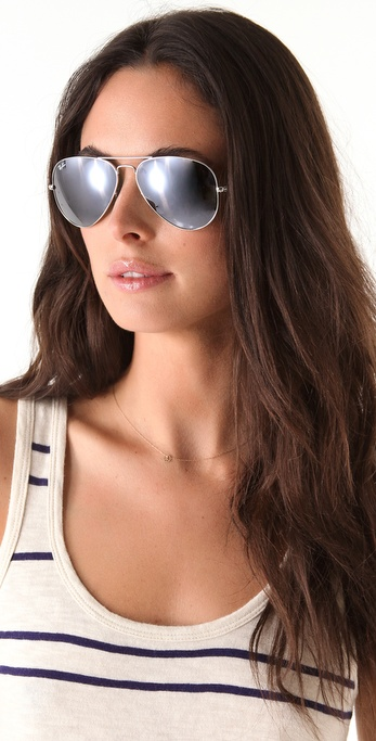 Lyst Ray Ban Mirrored Aviator Metal Sunglasses In Black