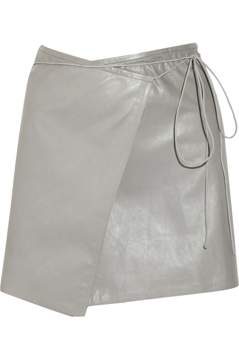 Reed krakoff Leather Wrap Mini Skirt in Gray | Lyst