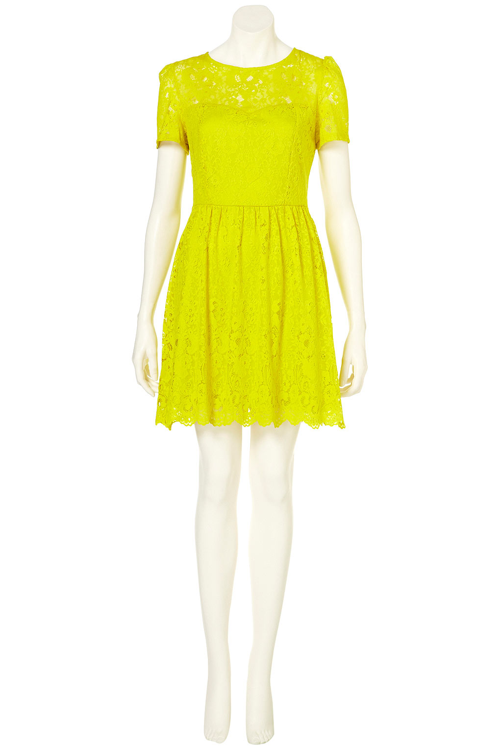 Lyst - TOPSHOP Neon Lace Flippy Dress in Yellow
