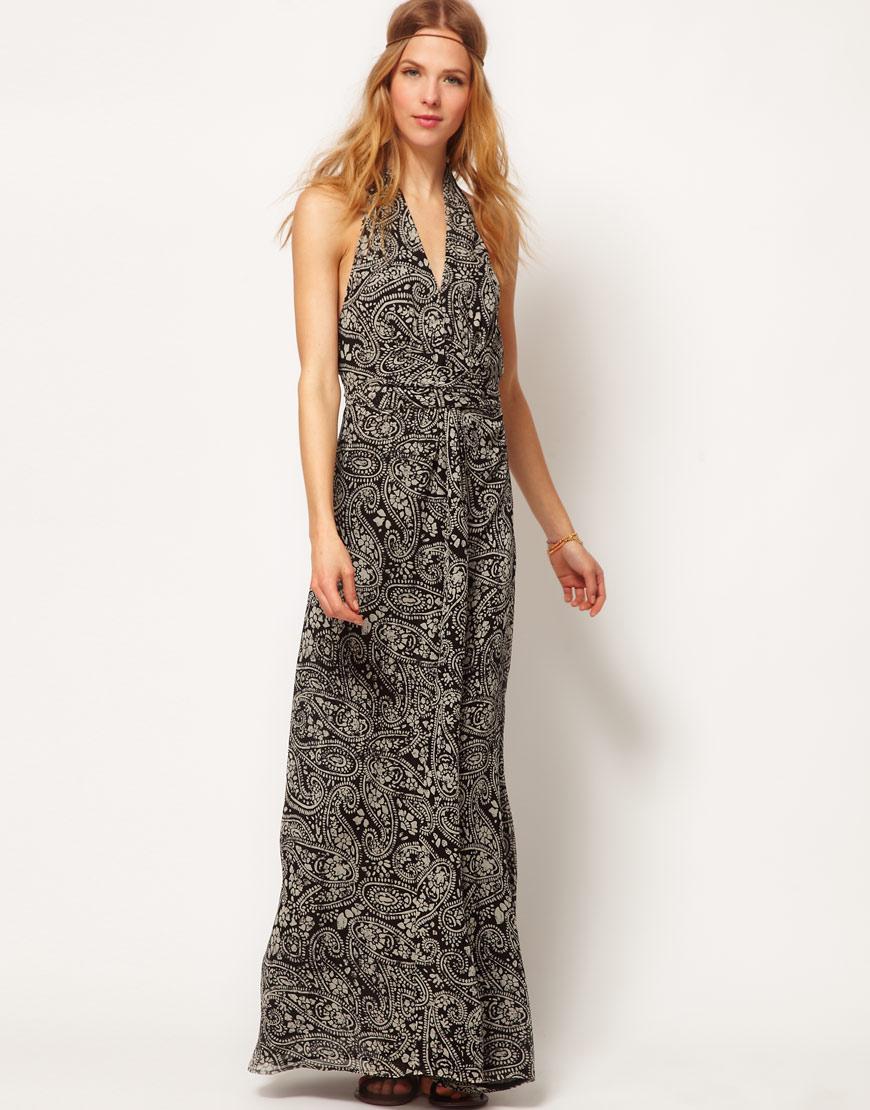 67d87983d705f Winter Kate Passenger Maxi Dress in Printed Silk Chiffon in Black - Lyst