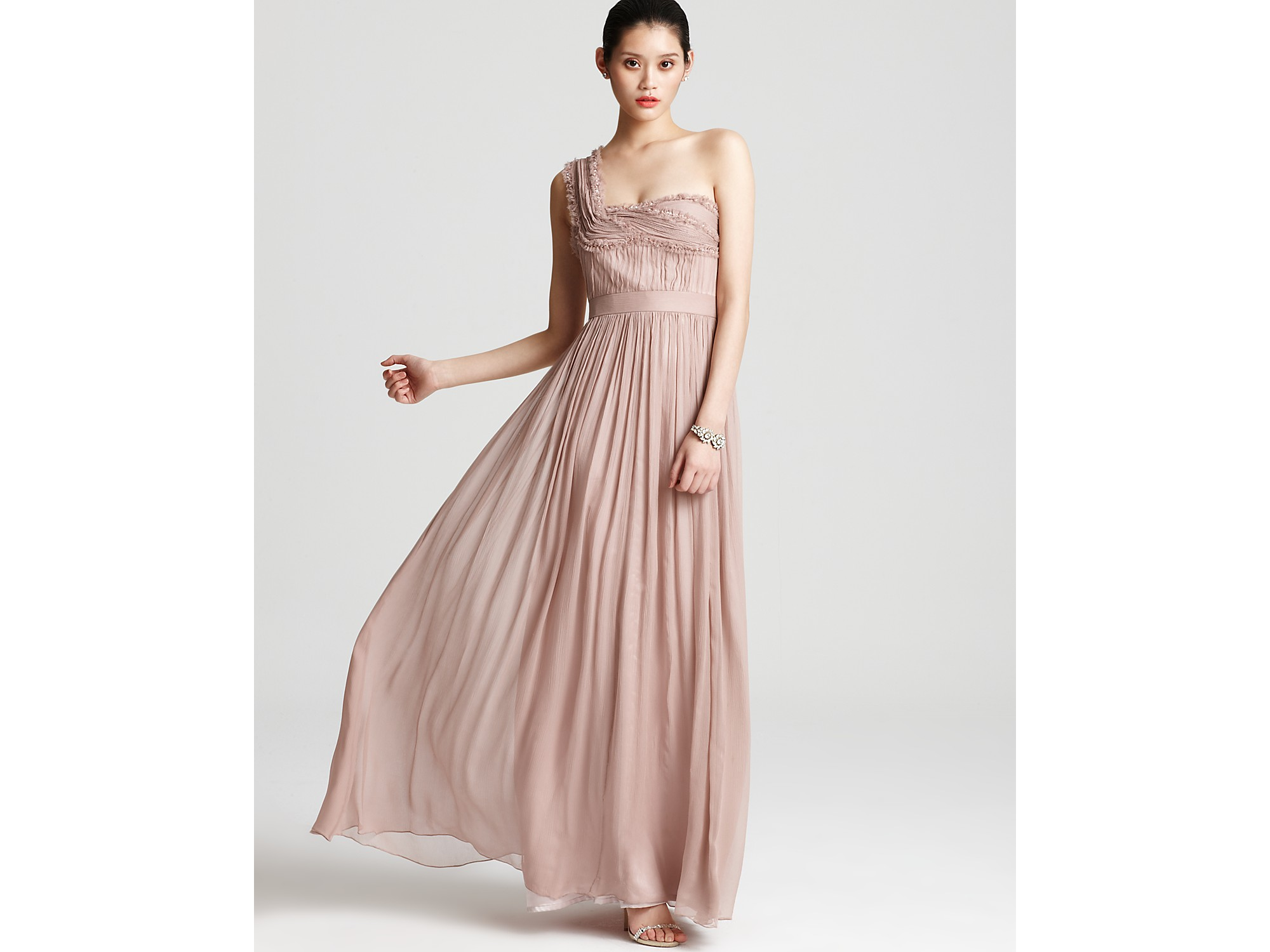 Lyst - Adrianna Papell Gown One Shoulder in Pink
