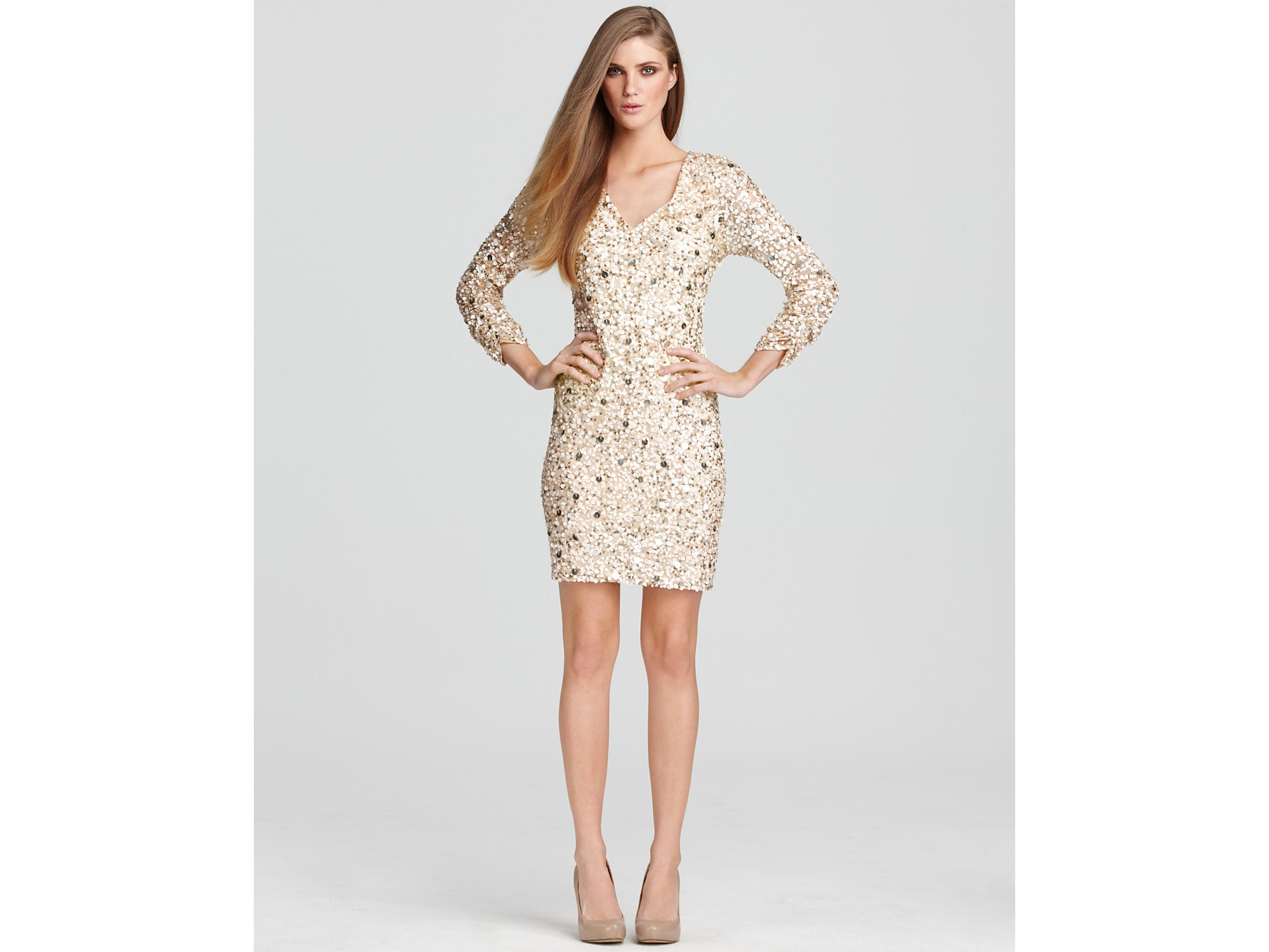 Aidan mattox Dress Sequin Mini Dress in Metallic | Lyst