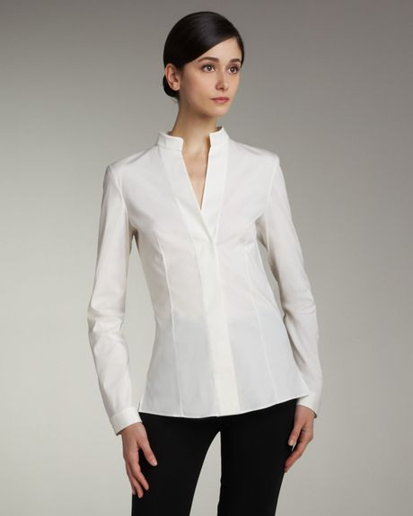 White Mandarin Collar Blouse 71