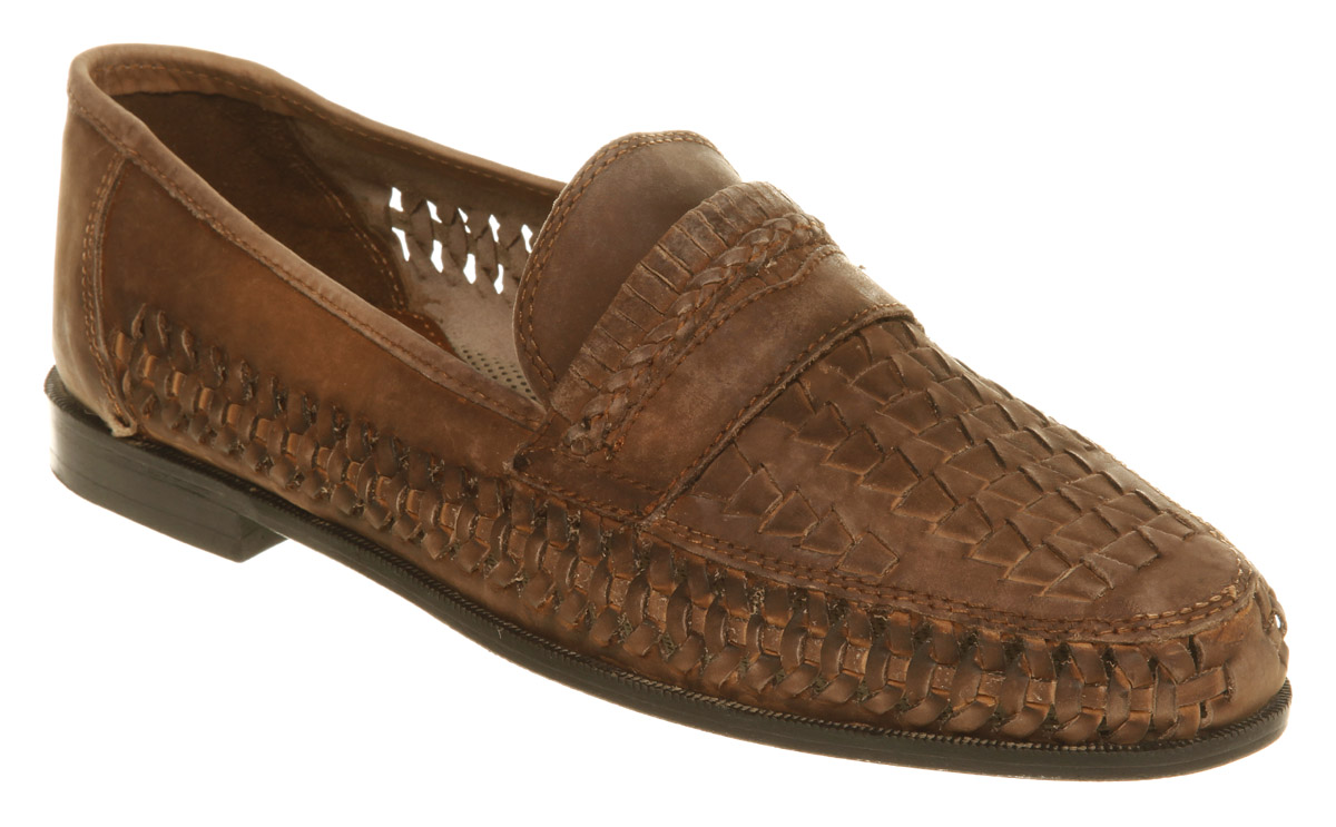 ec4cf04468a4f8 Lyst - Office Stoke Weave Slip On Brown Leather in Brown for Men