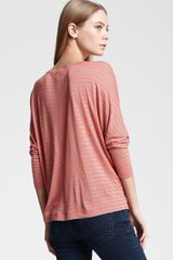 Bcbgmaxazria Top Willa Striped in Pink (coral reef moss combo) - Lyst