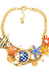 Betsey Johnson Gold Tone Fish Multi Charm Frontal Statement Necklace - Lyst