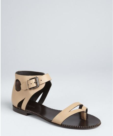 Bottega Veneta Mocha Leather Buckle and Cutout Ankle Flat Sandals in Brown (mocha) - Lyst