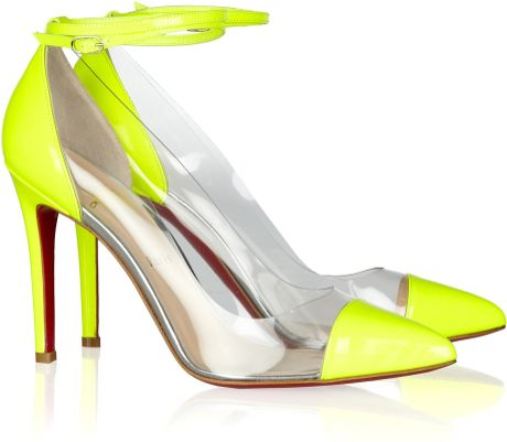 Christian Louboutin Un Bout 100 Patent Leather and Pvc Pumps in Yellow (chartreuse) - Lyst