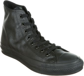 Converse All Star Leather Hi Black Mono - Lyst