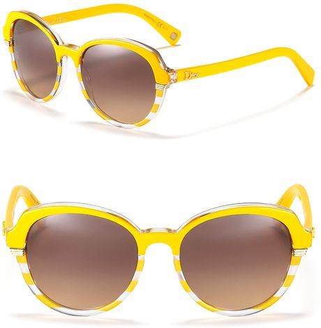 Dior Striped Rounded Wayfarer Sunglasses in Yellow (striped yellow) - Lyst