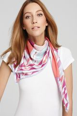 Emilio Pucci Tribalinspired Large Silk Twill Scarf in Red (coral red) - Lyst