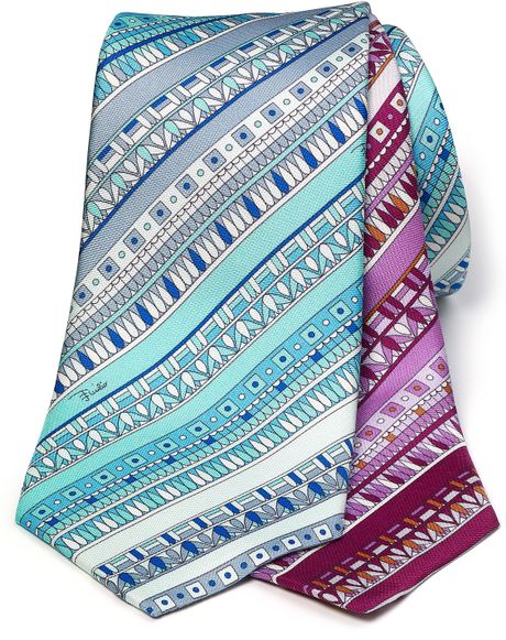 Emilio Pucci Classic Pattern Stripe Tie in Pink for Men (light blue) - Lyst