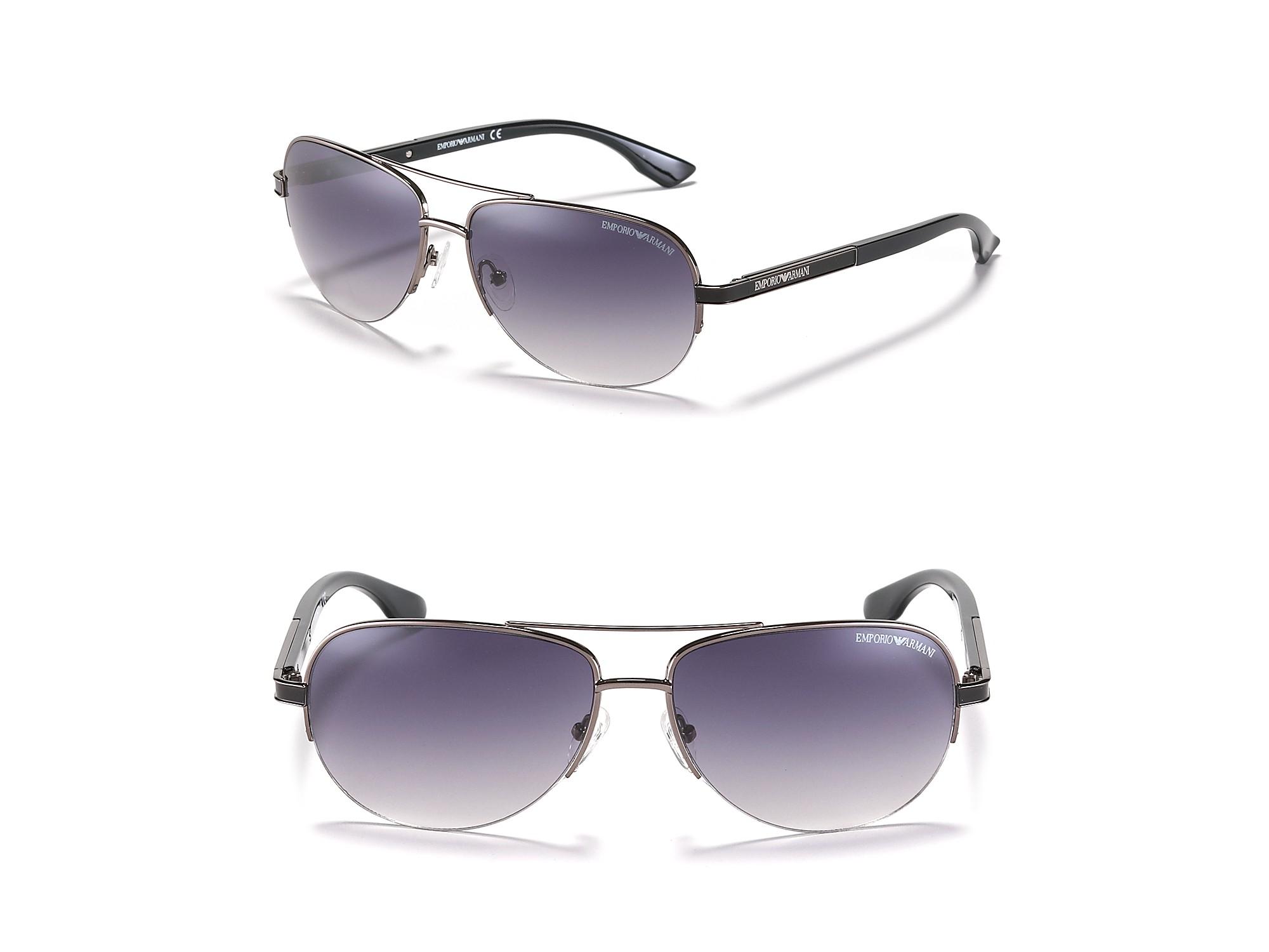 Rimless Glasses Armani : Emporio Armani Rimless Aviator Sunglasses in Black ...