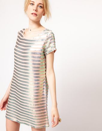 French Connection French Connection Metallic Stripe Shift Dress - Lyst