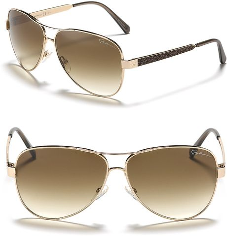 Giorgio Armani Top Bar Aviator Sunglasses in Gold (light gold) - Lyst