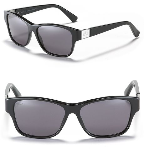 Gucci Square Wayfarer Sunglasses in Black - Lyst
