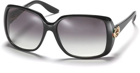 Gucci Rectangle Sunglasses with Web Temples in Black (shiny black) - Lyst