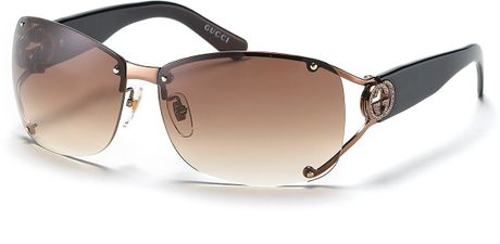 Gucci Split Temple Aviator Sunglasses with Crystal Ggs in Brown (shiny brown) - Lyst