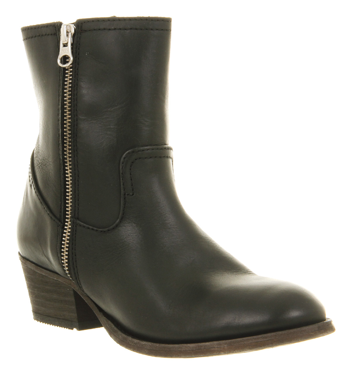 Get ready to kick up your heels in this black Western-inspired ankle boot. The pointed toe gives the look of a standard cowboy boot, while the gold stitching around the welt and the instep detail keeps it a modern city boot.