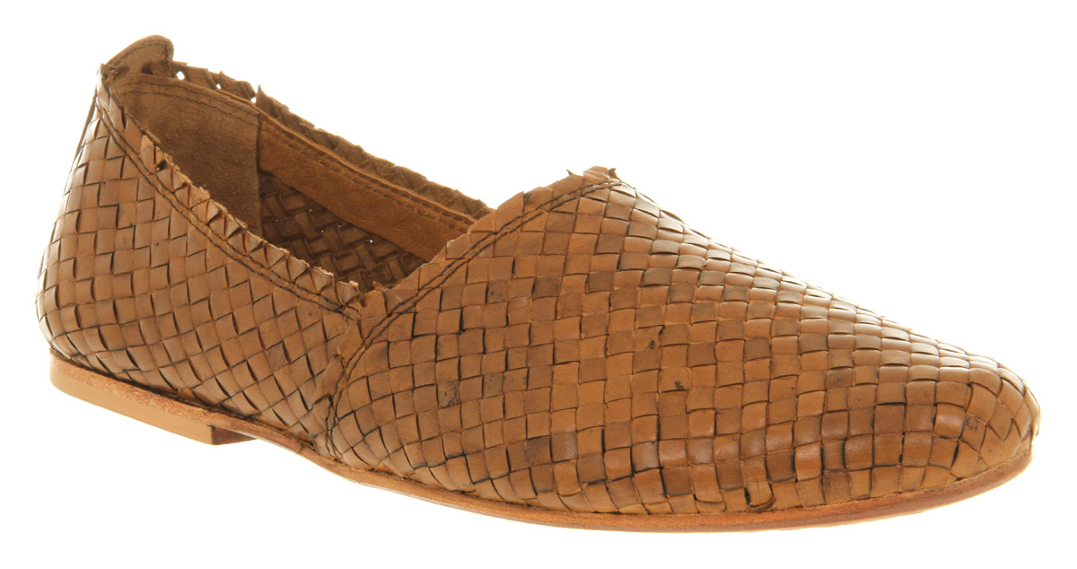 Red Herring Brown Woven Leather Slip On Shoes