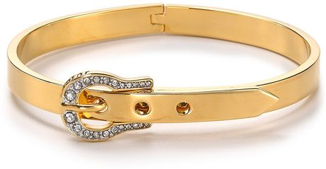 Juicy Couture Luxe Buckle Skinny Bangle in Gold - Lyst