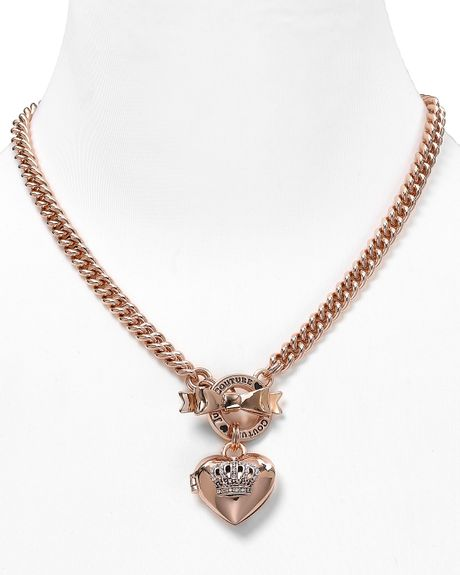 Juicy couture bow toggle heart crown necklace in pink for Juicy couture jewelry necklace