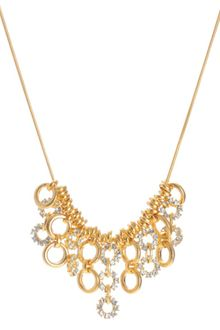Kenneth Cole Gold Tone Crystal Circle Frontal Necklace - Lyst