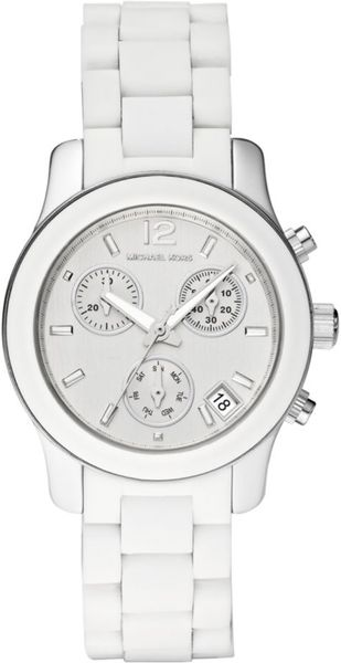 Michael Kors Womens Chronograph White Silicone Bracelet 34mm First Macys in White - Lyst