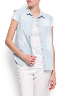 Mango Washed Denim Shirt - Lyst