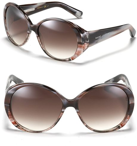 Marc Jacobs Oversized Round Sunglasses in Brown (brown white) - Lyst
