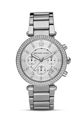 Michael Kors Michael Silver and Crystal Watch 39mm - Lyst