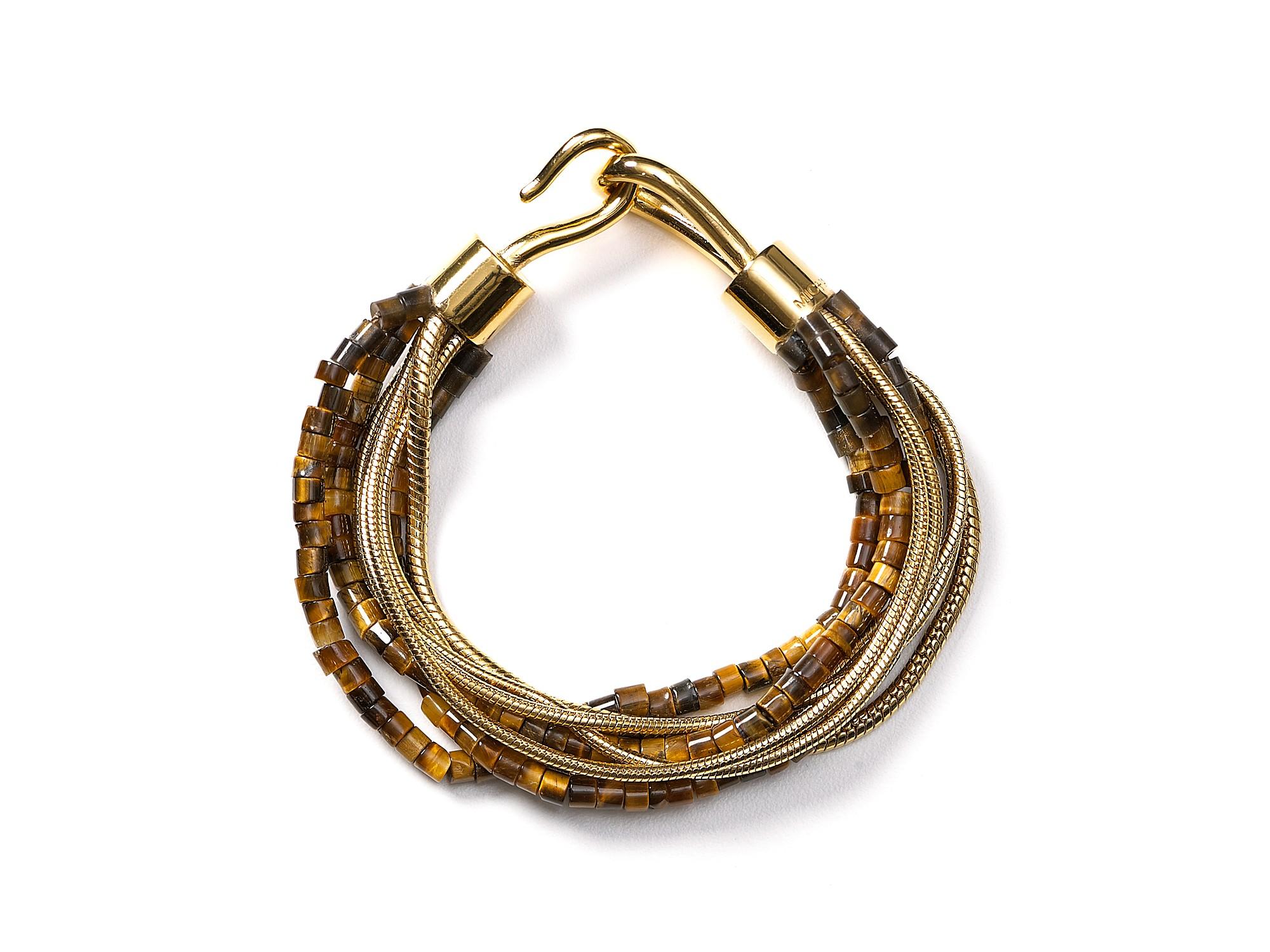 Michael Kors Michael Multi Chain Tigers Eye Hook Bracelet