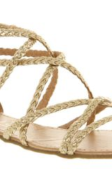 Office Cocktail Strippy Sandal Gold Pu - Lyst
