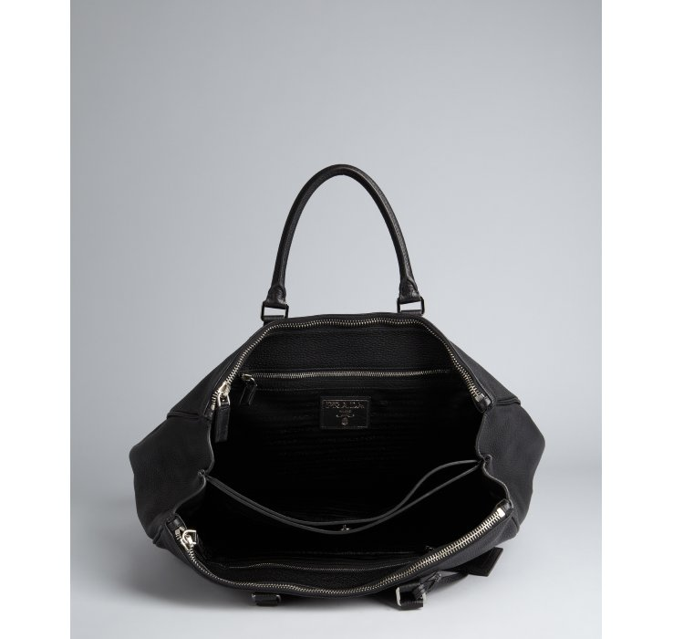Prada Black Grained Leather Large Tote in Black for Men | Lyst