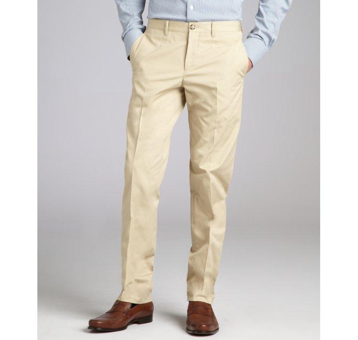 Prada Khaki Cotton Flat Front Straight Leg Pants In Khaki