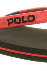 Ralph Lauren Canby Flip Flop Black Red Rubber - Lyst