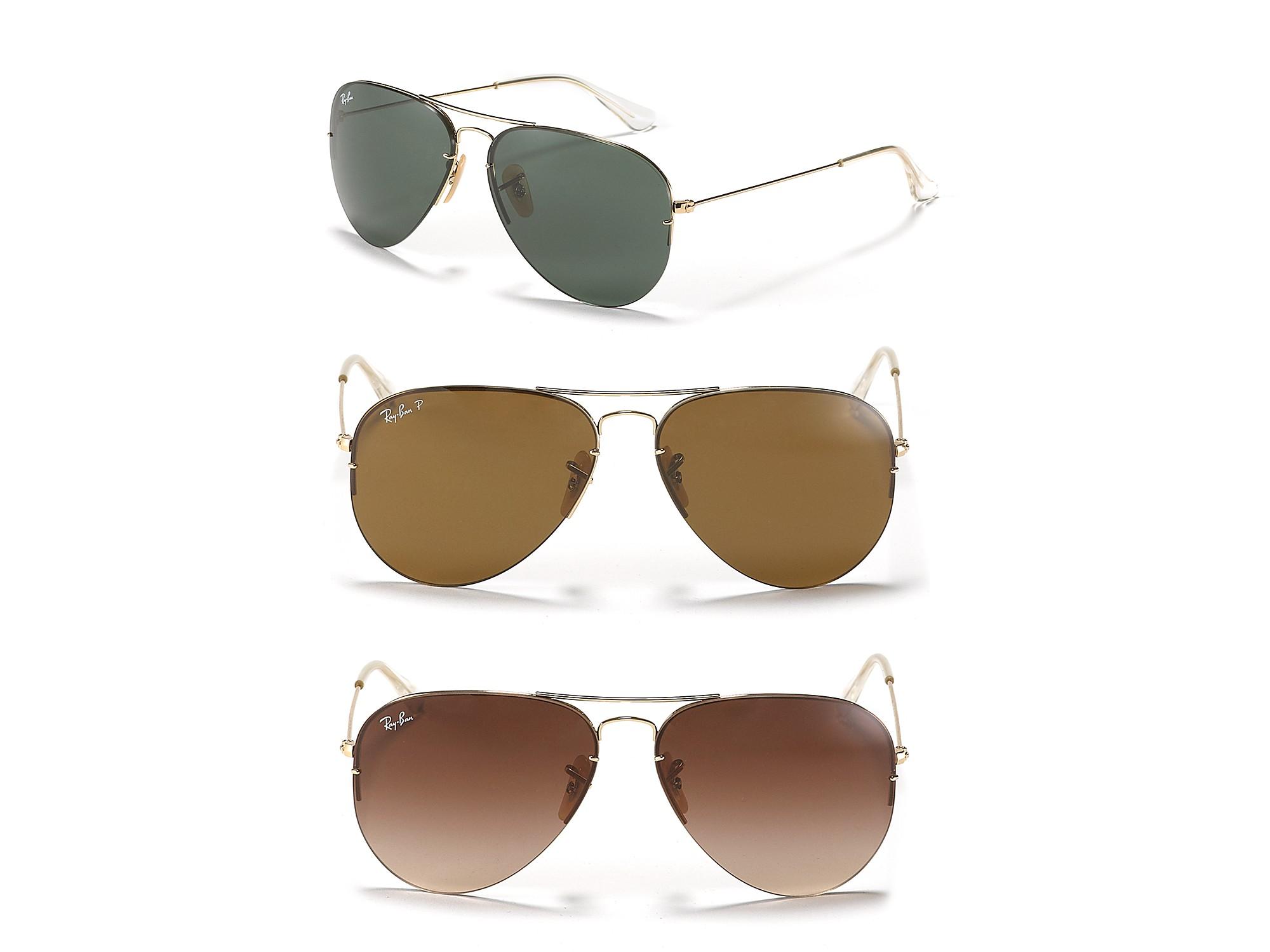 Ray Ban Light Ray Aviator Sunglasses In Gold Metallic Lyst
