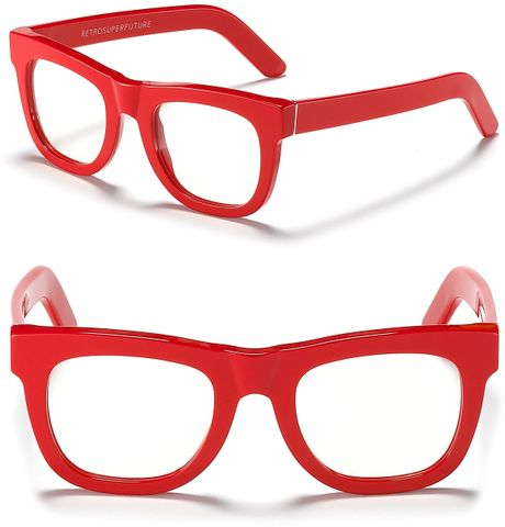 Big Red Frame Glasses : Super Ciocio Clear Frame Glasses in Red Lyst