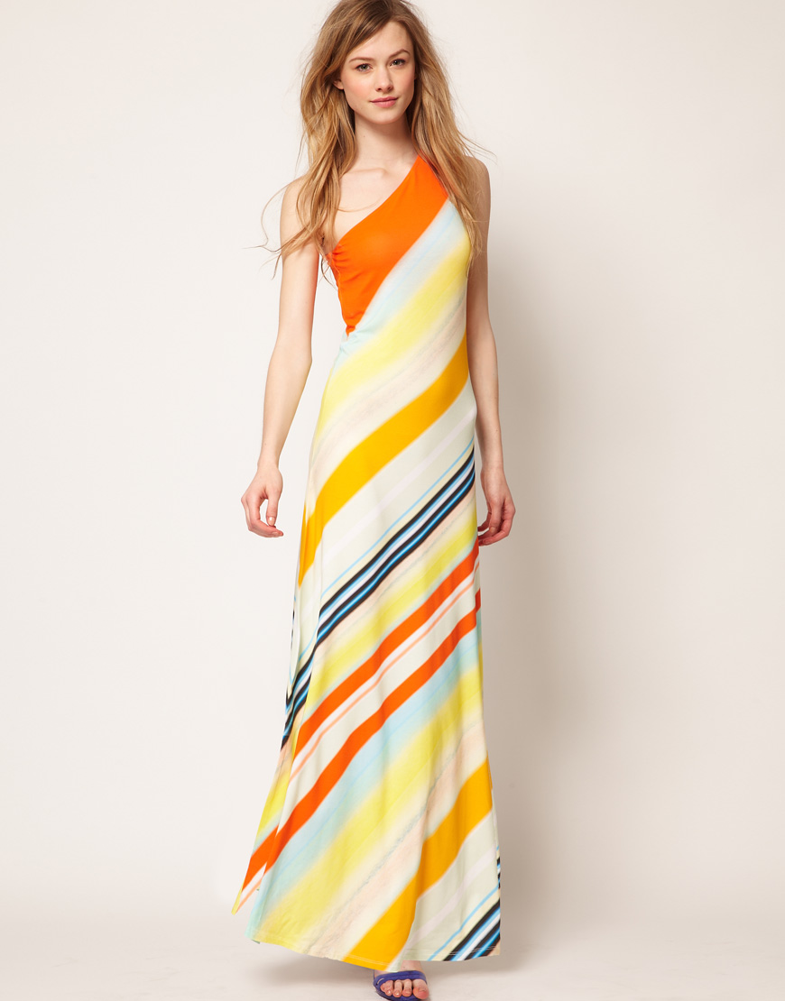 35dd099c0 Lyst - Ted Baker One Shoulder Maxi Dress in Stripe Print