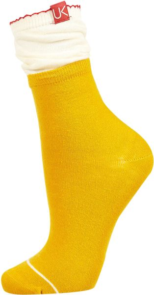 Topshop Urban Knit Slouch Ankle Socks in Yellow (mustard) - Lyst