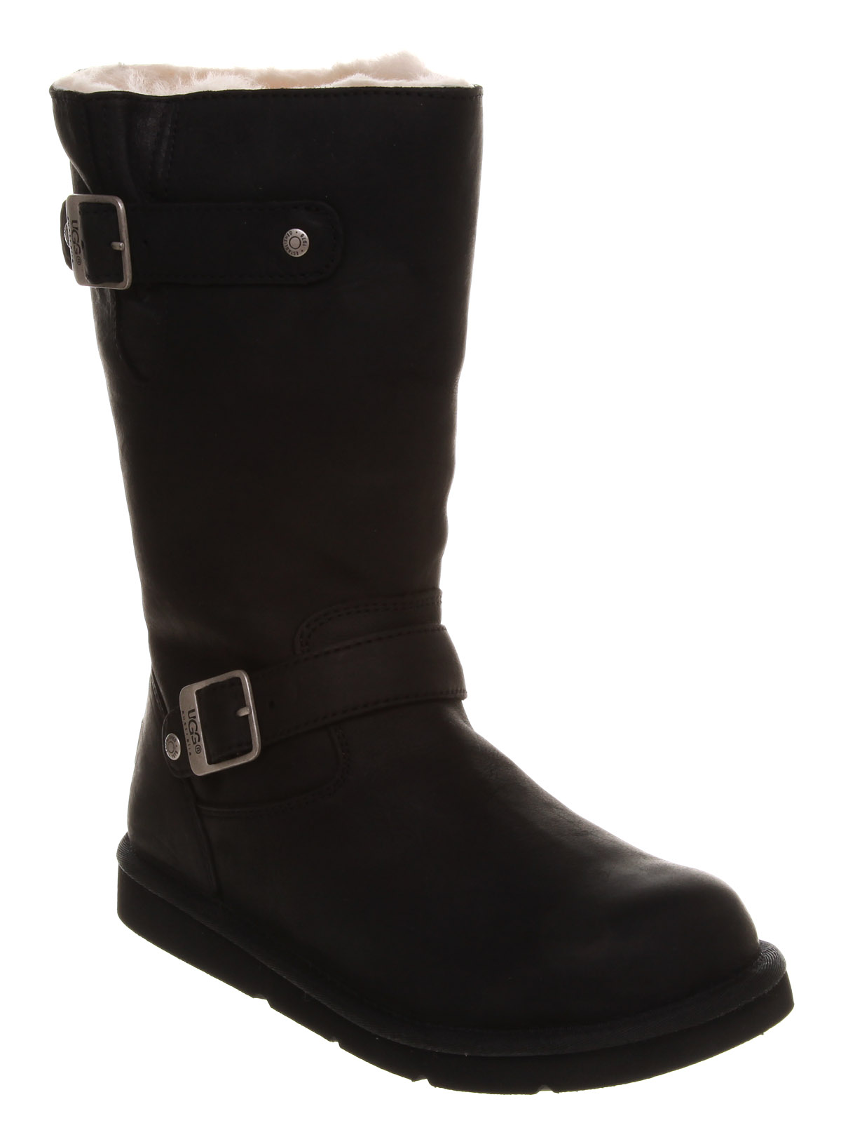 ugg kensington biker boot black leather in black lyst