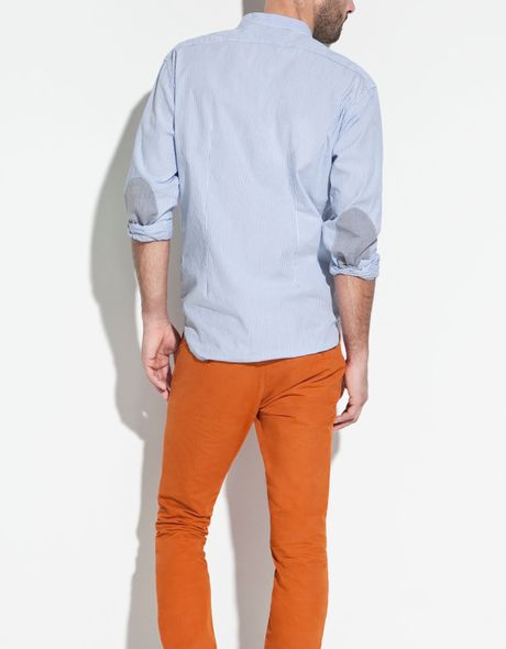 Zara Shirt With Elbow Patches And Mao Collar In Blue For