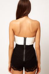 Asos Collection Asos Bandeau Playsuit with Lace Knicker Shorts in White (blackpink) - Lyst